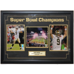 Drew Brees Framed Triple Piece with Autographed 8x10