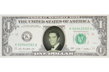 Elvis Presley Famous Face Dollar Bill - The King with Black Bow Tie