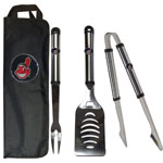 Cleveland Indians 3 Piece Steel BBQ Set with Bag