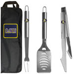 LSU Tigers 3 Piece Steel BBQ Set with Bag