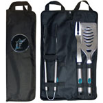 Miami Marlins 3 Piece Steel BBQ Set with Bag