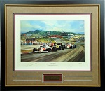 Niki Lauda & Alain Prost Dual Autographed 20x30 Lithograph Framed