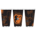 Baltimore Orioles Halftones Sublimated 16oz Pint Glass