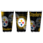 Pittsburgh Steelers Halftones Sublimated 16oz Pint Glasses
