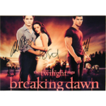Twilight Saga Signed Robert Pattison, Kristen Stewart and Taylor Lautner Autographed 8x10